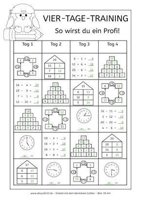 Vier-Tage-Mathe-Training (Zahlenraum bis 20) - in 2018 | lernen ...