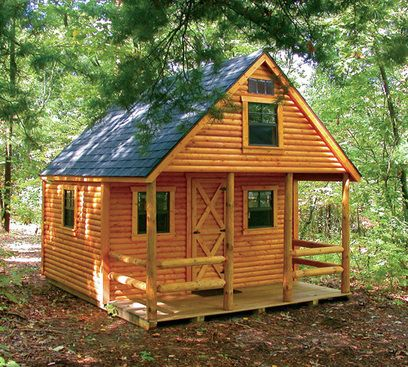 Small cabins to build simple solar homes learn how to for Log cabin garages for sale