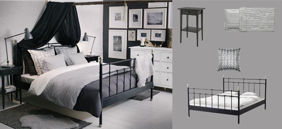 SVELVIK Bett schwarz mit HEMNES Nachttischen und ALINA Überwurf - schlafzimmer landhausstil ikea
