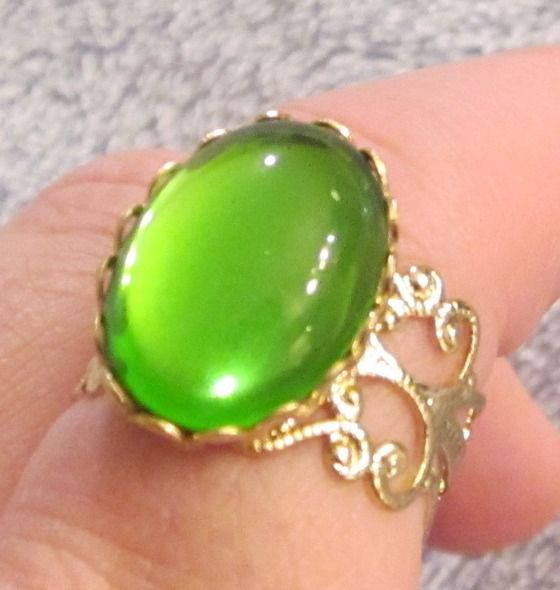 Gold Adjustable Victorian Style Ring with Peridot Green Glass Cabochon $13.00