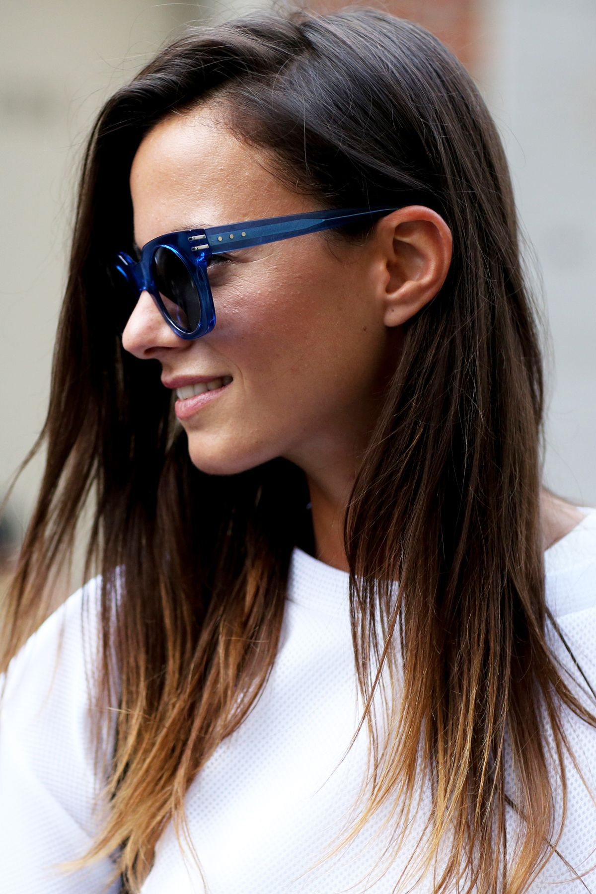 Blue Frame Sunglasses | #NYFW Spring 2015 Street Style
