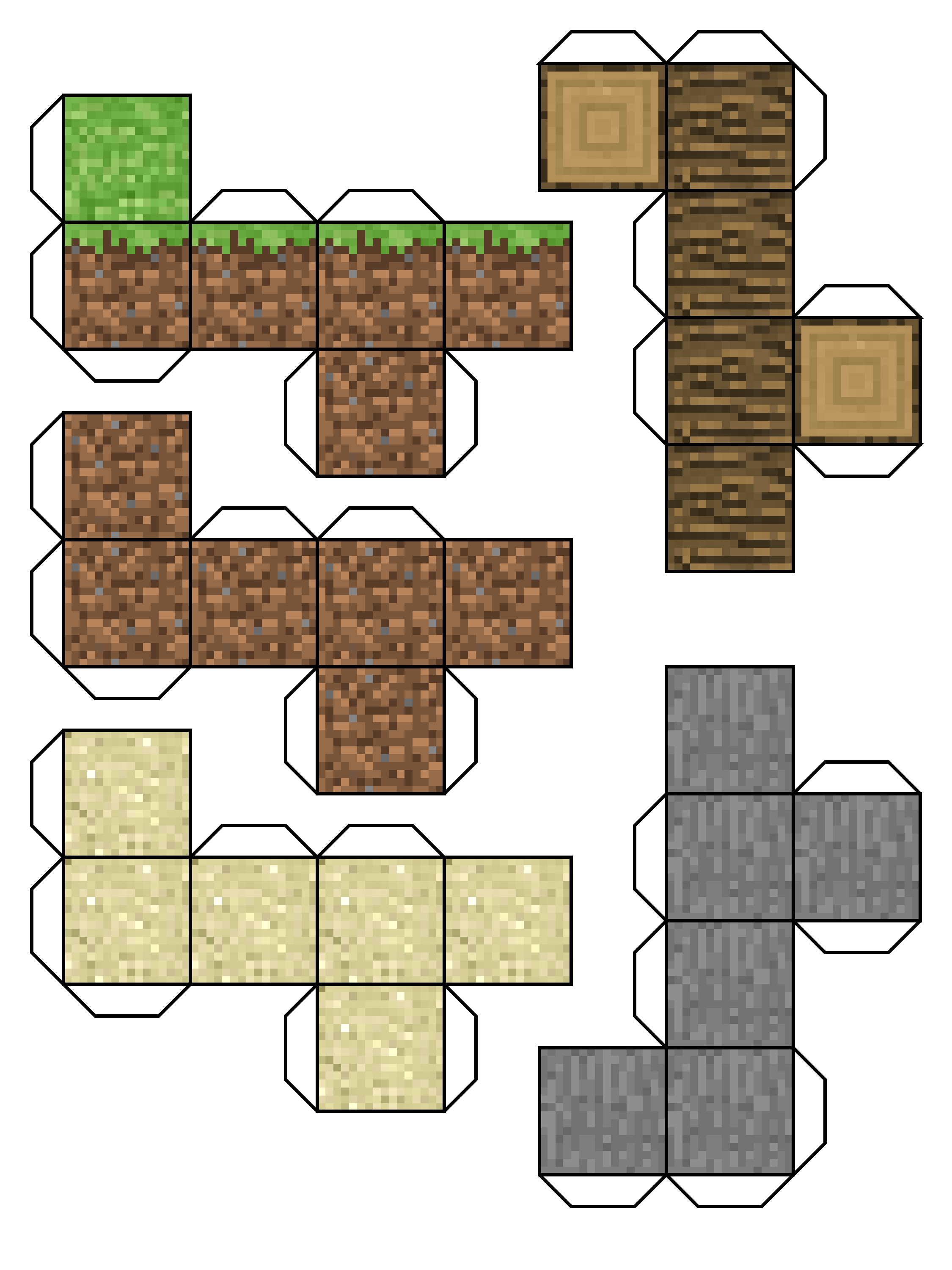 Minecraft Paper Craft Gr, Dirt, Wood, Sand, and Stone Blocks ... on