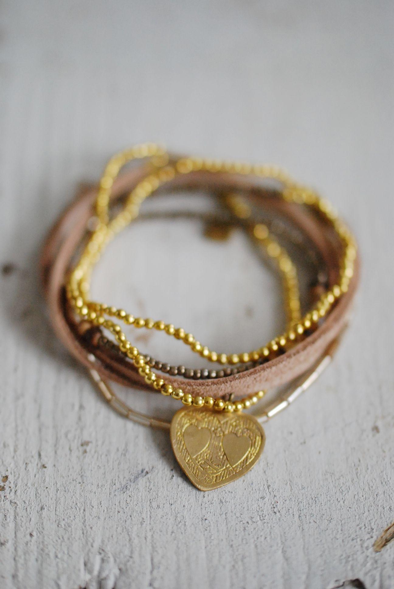 Icon Lace Hart 6w Stretch Leather Bracelet