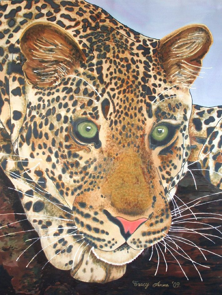 Leopard silk painting by Tracy donnelly