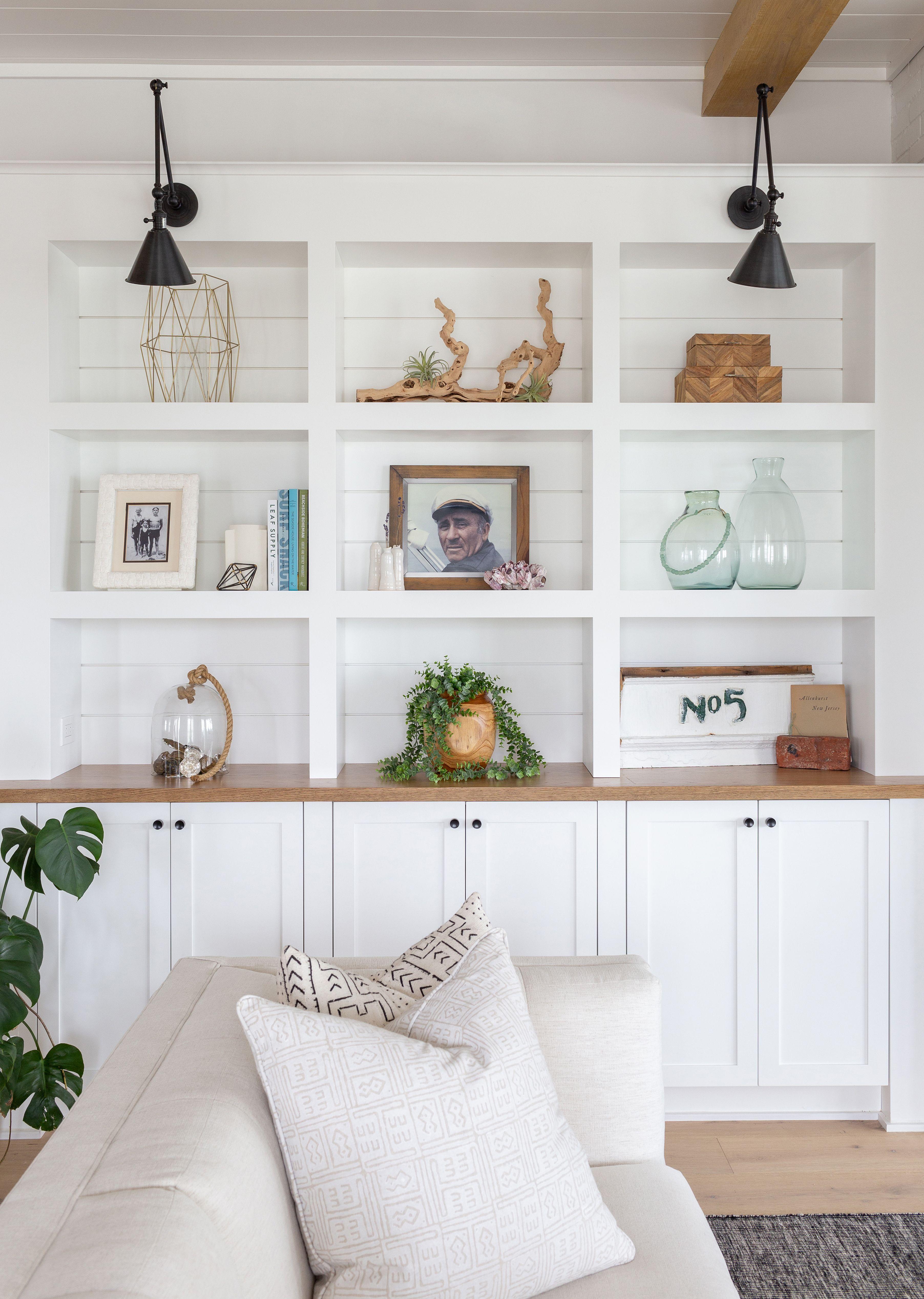 A Beachside Mediterranean Style Summer Home In Allenhurst Nj Rue Built In Shelves Living Room Living Room Built Ins Living Room Shelves