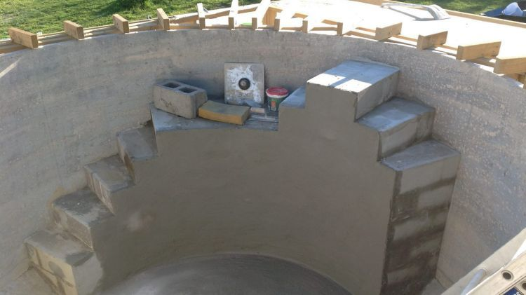 Beat the heat converting a water tank to a plunge pool home sweet home plunge pool water for Concrete stock tank swimming pool