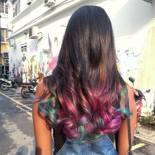 rainbow colored hair ends