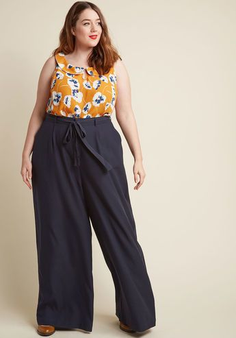 High-Waisted Wide-Leg Trousers in Navy in 4X - Style these wide-leg trousers from our ModCloth namesake label any way you please! If you're torn between sleek blouses or casual tees as the best match for this vintage-inspired offering's matching sash, pockets, and solid navy hue, we believe any pairing is perfect - as long as you've got a confident attitude!