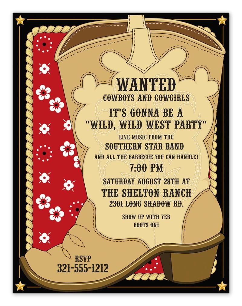 cowboy invitation template farm party pinterest invitation