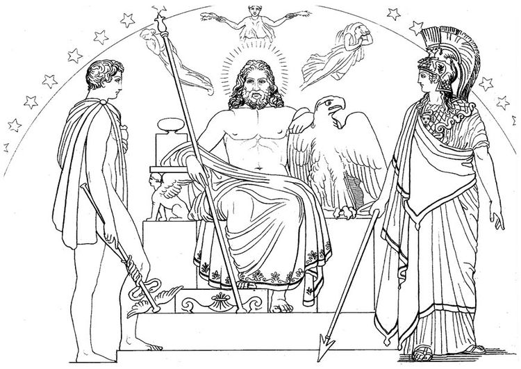 Coloring page Oddyseus - Hermes, Zeus and Athena | Kleurplaat ...