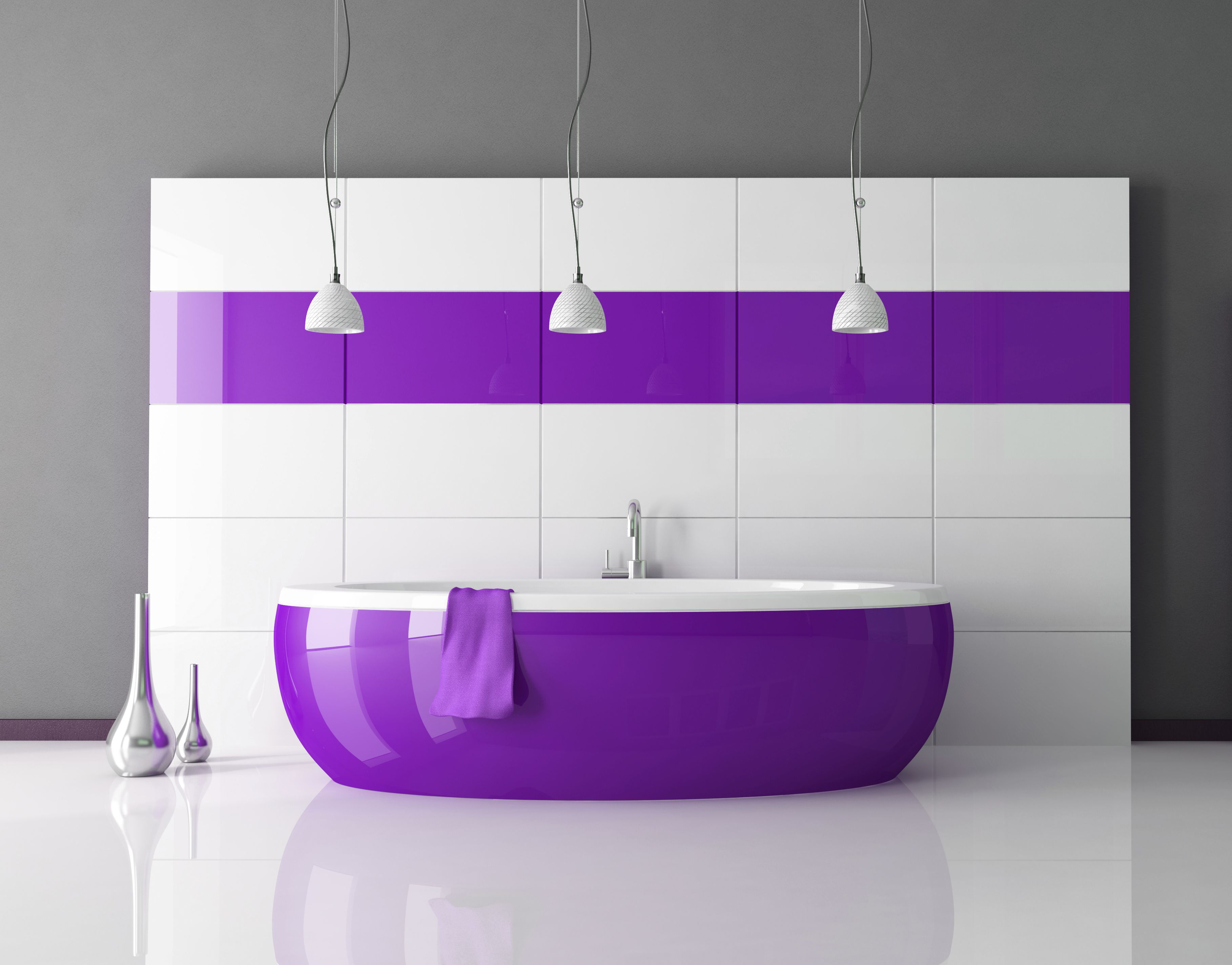 The grey with the purple and white works so well, that tub could ...