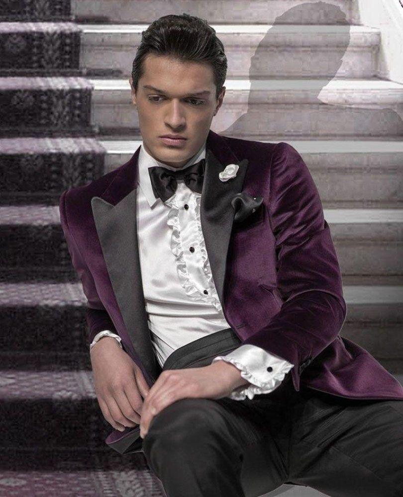 2017 Mens Suits Purple Wedding For Men Peaked Lapel Groomsmen Suit One Button Tuxedos