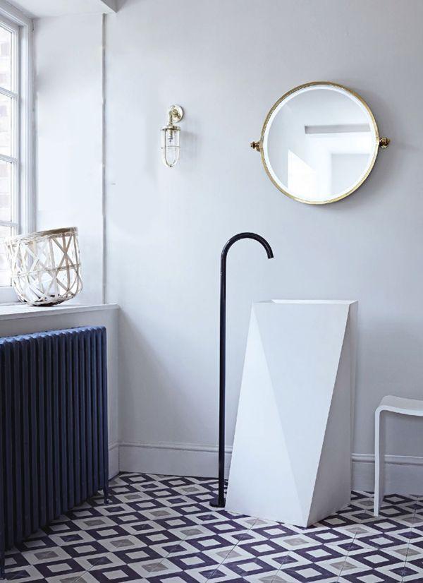super modern bath // gorgeous tile and sink