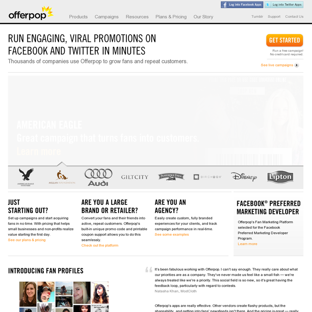 Offerpop: end-to-end, white label campaign tools for Facebook and