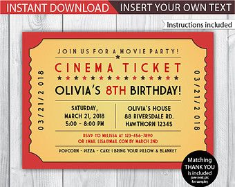 Blank Movie Ticket Invitation Template   FREE DOWNLOAD  Free Printable Movie Ticket Template