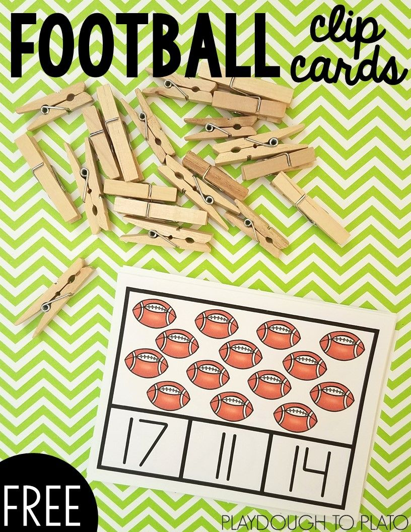 Football Counting Clip Cards Playdough To Plato Clip Cards Fall Math Centers Math Clip Cards [ 1056 x 816 Pixel ]