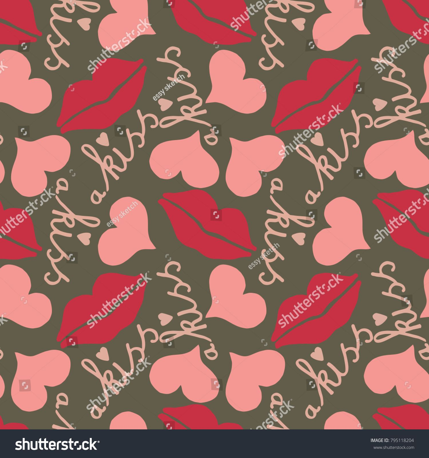Seamless pattern with lips and the word kiss and hearts Fun for