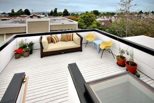 Fabulous Rooftop Terrace Ideas At Crockett Residence Chris Pardo With Wood Floor Decorated Small Planters