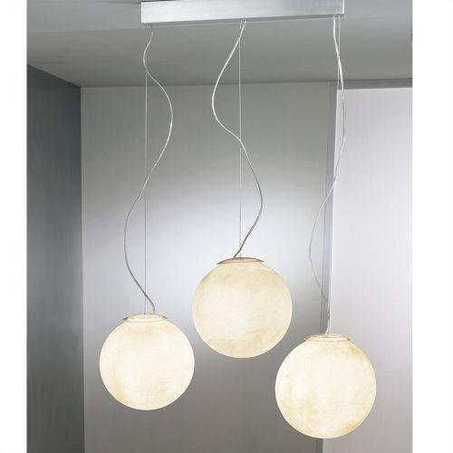 Kronleuchter Mit Lampenschirmen Moderne Kronlechter Hier: TRE LUNE 3-flammige Pendelleuchte Mit Kugelschirmen In