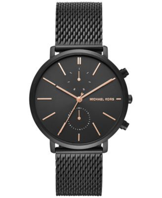 041e15e05010 Michael Kors Men s Chronograph Jaryn Black Ion-Plated Stainless Steel Mesh  Bracelet Watch 42mm MK8504