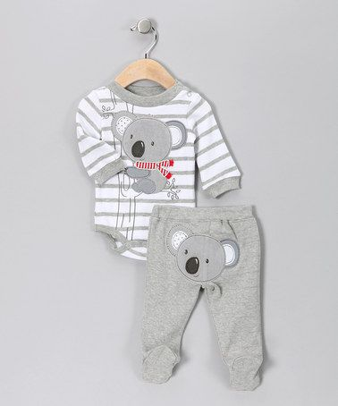 So Cute Take A Look At This Gray Stripe Koala Bodysuit