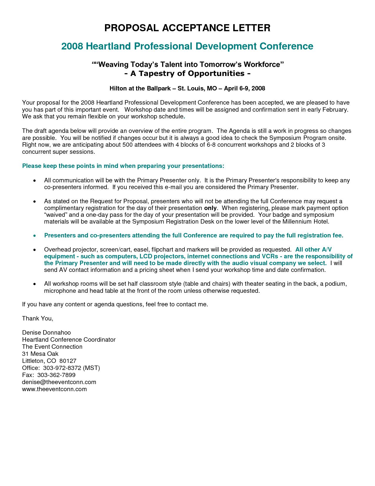 educational proposal letter proposal acceptance letter educational proposal letter proposal acceptance letter