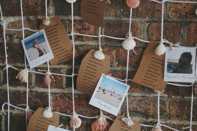 polaroids + seashells for escort cards