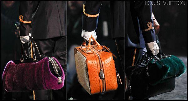 Louis Vuitton Fall 2012 bags: jeweled tone fur