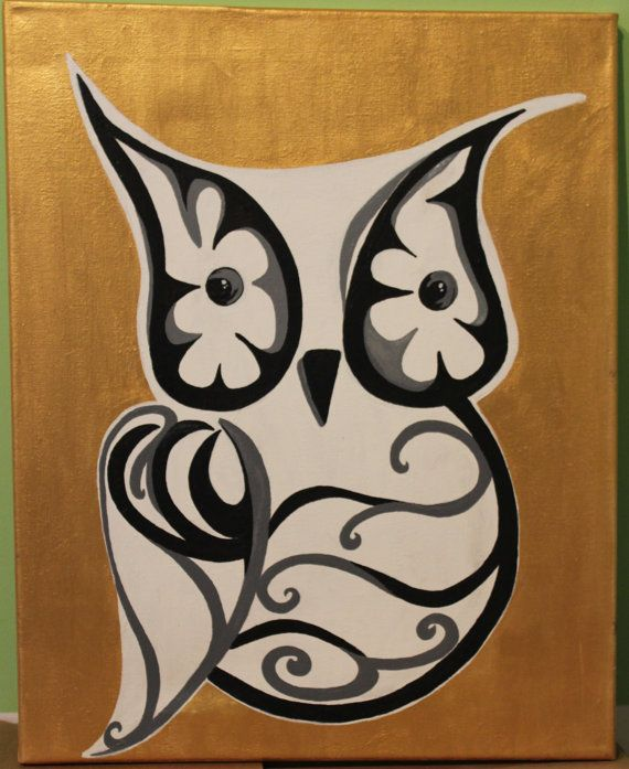Gold Black and White Owl Acrylic on Canvas by FrostedDonutDesigns, $28.00