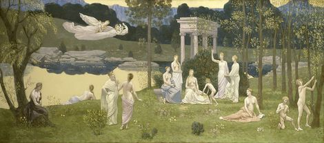Pierre Puvis de Chavannes , The Sacred Grove, Beloved of the Arts and the Muses, 1884/89 on ArtStack #pierre-puvis-de-chavannes #art