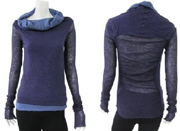 Long-sleeved midnight blue knit with electric blue circular-cut frilled collar and matching bottom. Reinforced shoulder. Mohair wool gauze knit with double fabric inside. Fairytale- line on sale. #Women #Clothing #T-Shirt