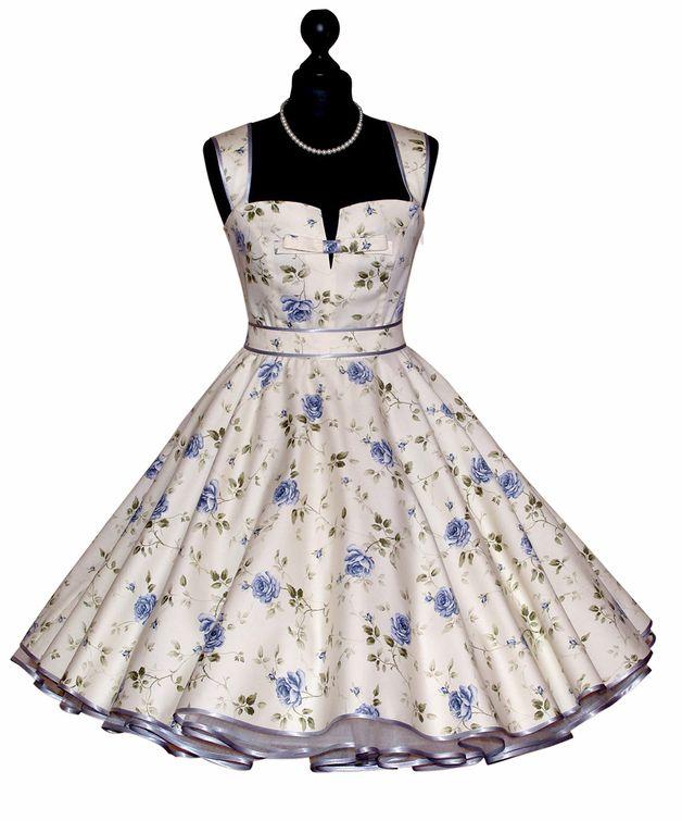 Prom Šaty - 50s KVĚTINOVÉ letní šaty spodnička spodnička - jedinečný  produkt od Charlott-atelieru na DaWanda 430ce2829e