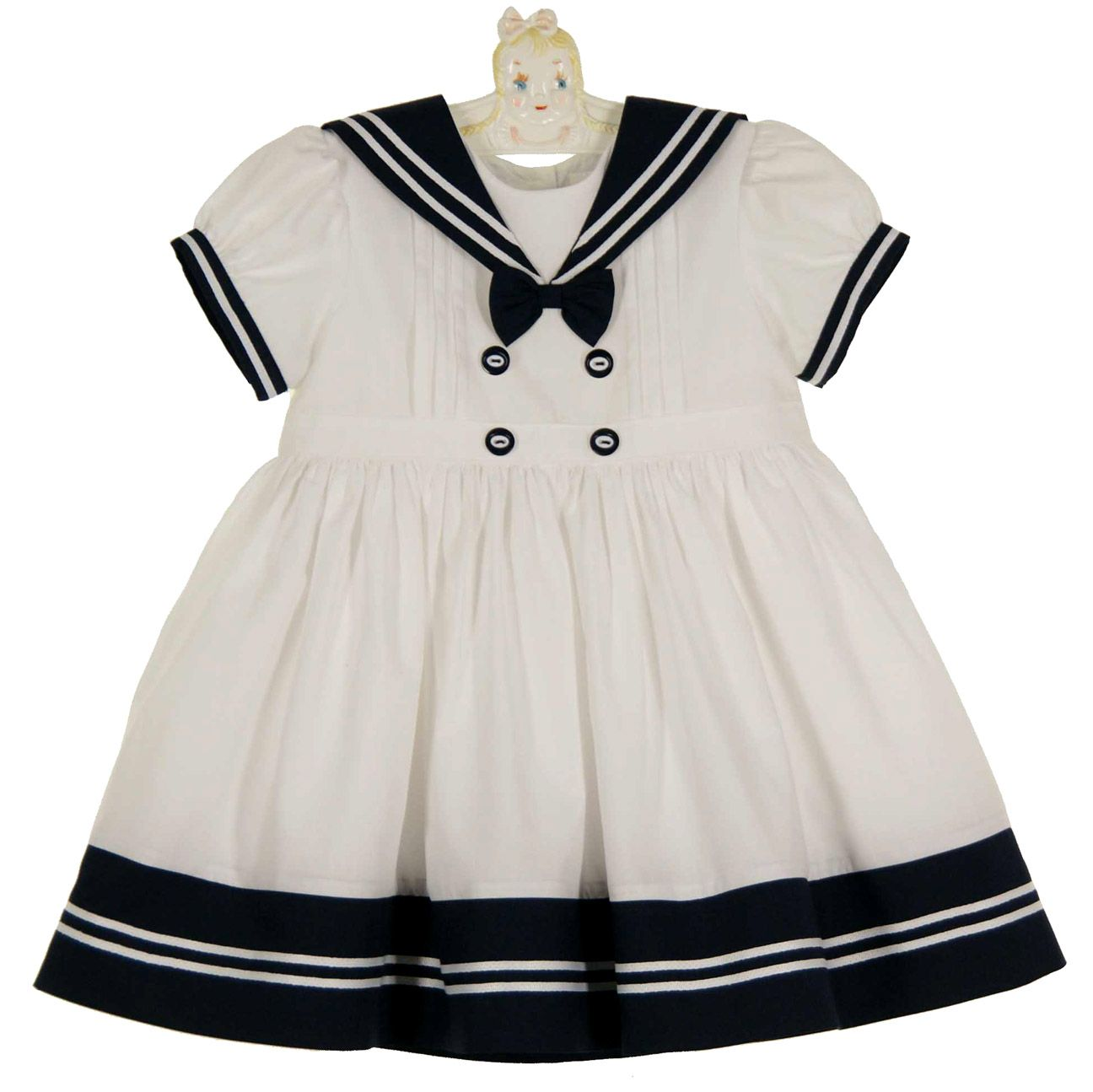 Sarah Louise White Sailor Dress White And Navy Sailor Dress For Baby Girls White And Navy Sailo Baby Girl Pageant Dresses Girls Fashion Dress Baby Sailor Dress