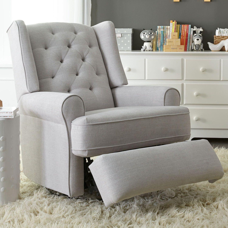 Best Chairs Finley Swivel Glider Recliner Gray Tweed