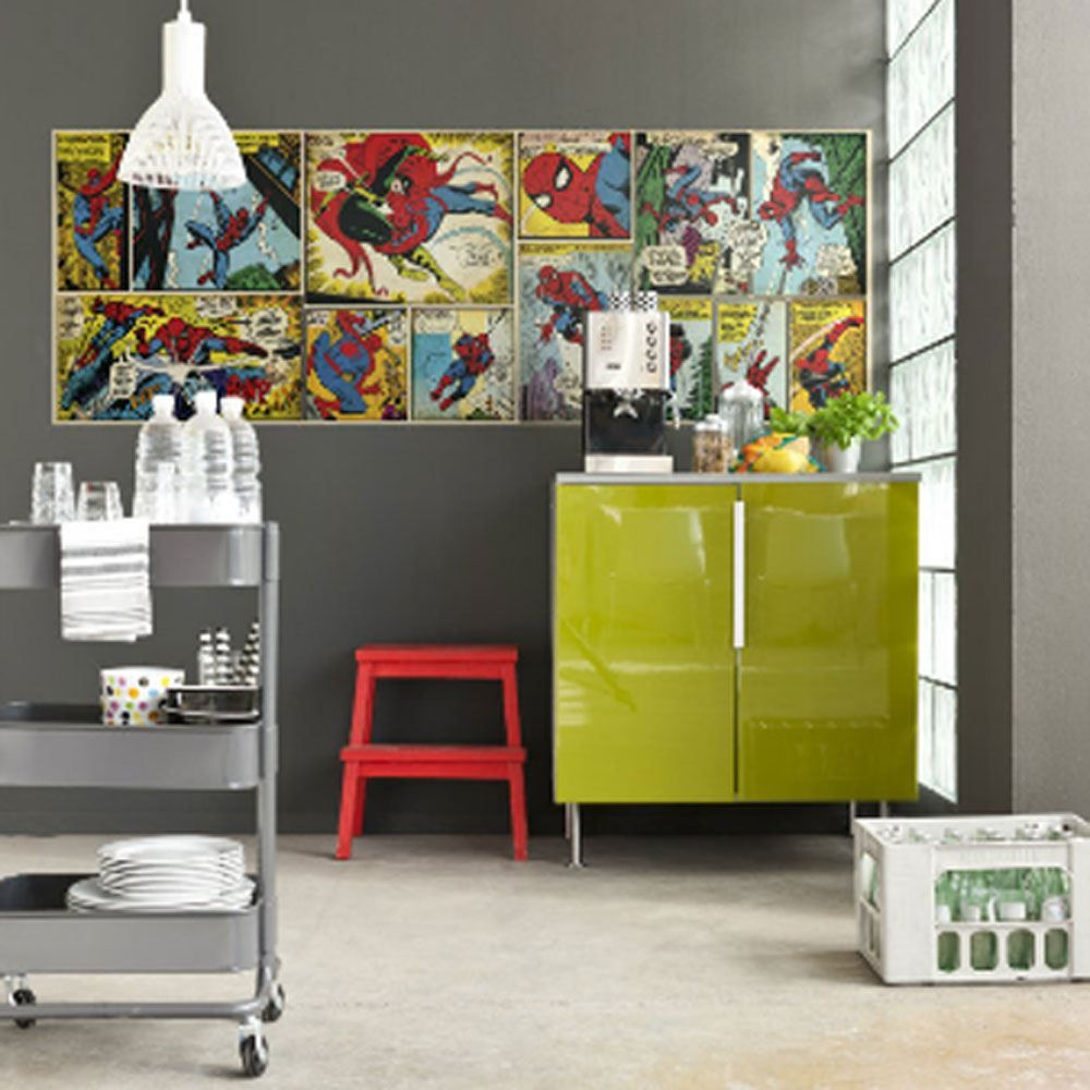 Marvel comics and avengers wallpaper wall murals décor bedroom ...