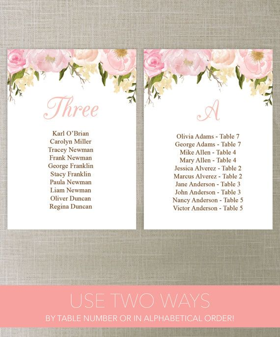 Wedding Seating Chart Template - DIY Printable Wedding Table