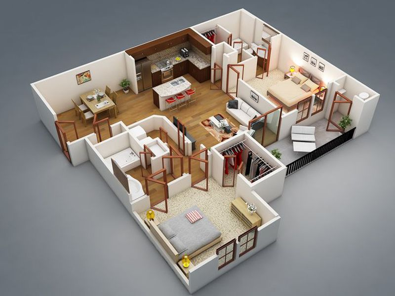 Concept 3d Floor Plans In Different Layout For One Storey And 2 Story House Ideas Complete With Materials One Bedroom House 3d House Plans Bedroom House Plans