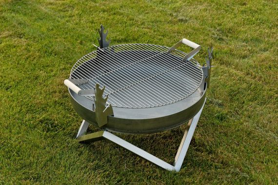 Steel Fire Pit Yanartas With A Stainless Steel Grill Bbq Etsy Fire Pit Cooking Fire Pit Essentials Steel Fire Pit