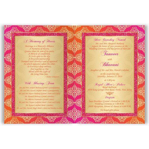Indian Wedding Invitation Card Orange Fuchsia Gold Damask Faux Pink Glitter Scroll Indian Wedding Invitation Cards Indian Wedding Invitations Hindu Wedding Cards