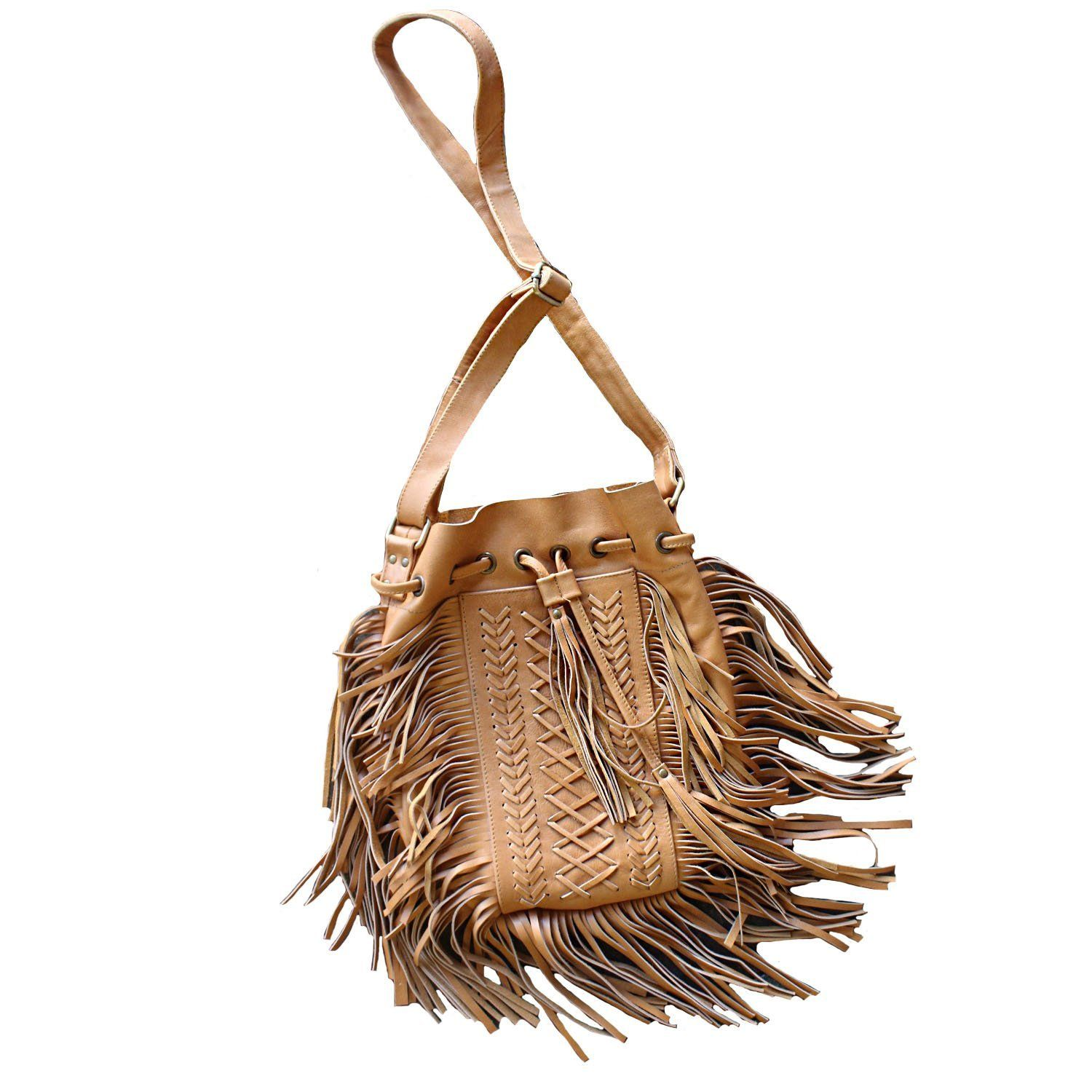 cfcdc4b11 Fringe Leather Bag Delicate Weaving with Fringe Bag 12.5 Inches Tall by  10.5 Inches Wide Adjustable Strap Length and Drawstring Opening Available  in Tan, ...