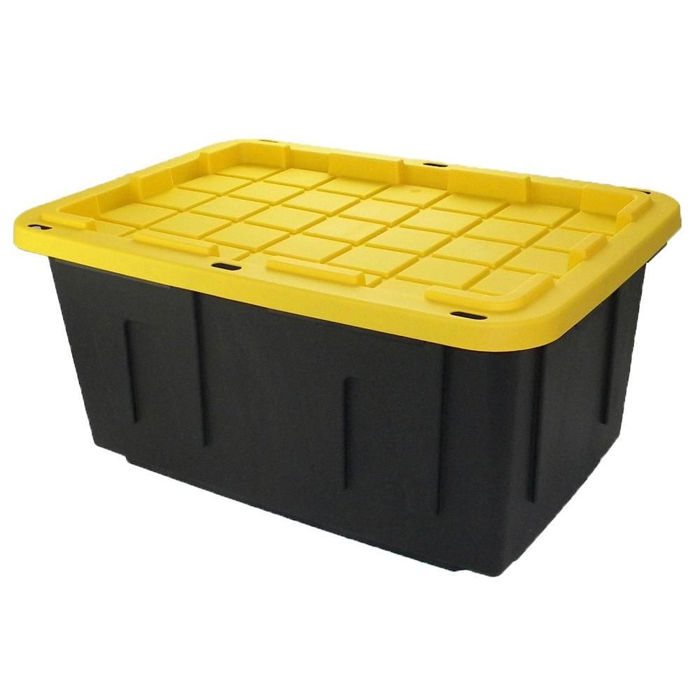 Hdx 27 Gal Storage Tote In Black 207585 At The Home Depot