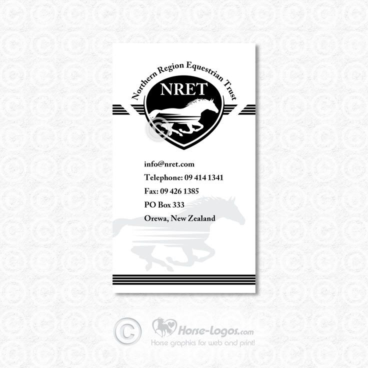 Custom Business Card Design Example Created For Northern Region Equestrian Trust Nret I Created Horse Logo Design Custom Business Cards Business Card Design