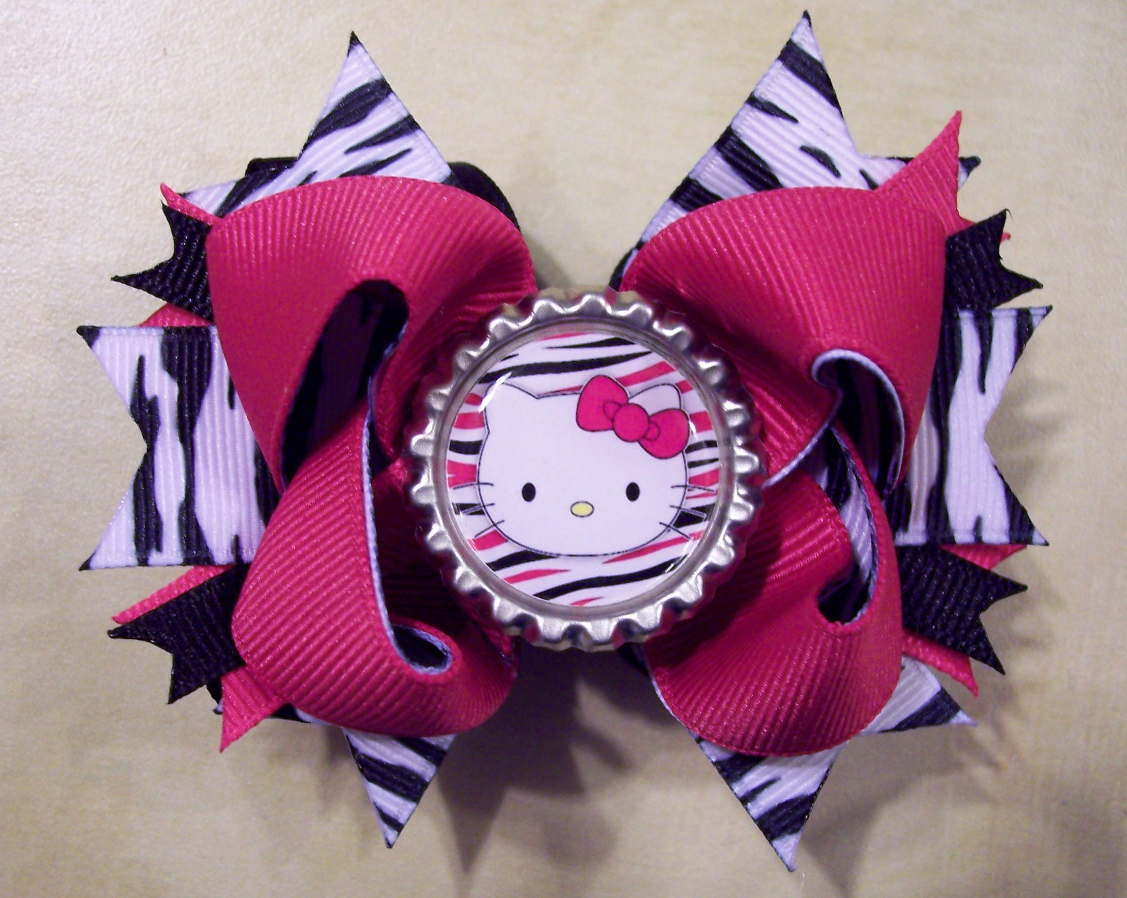 Bows for hair hello kitty zebra boutique hair bow clippies by