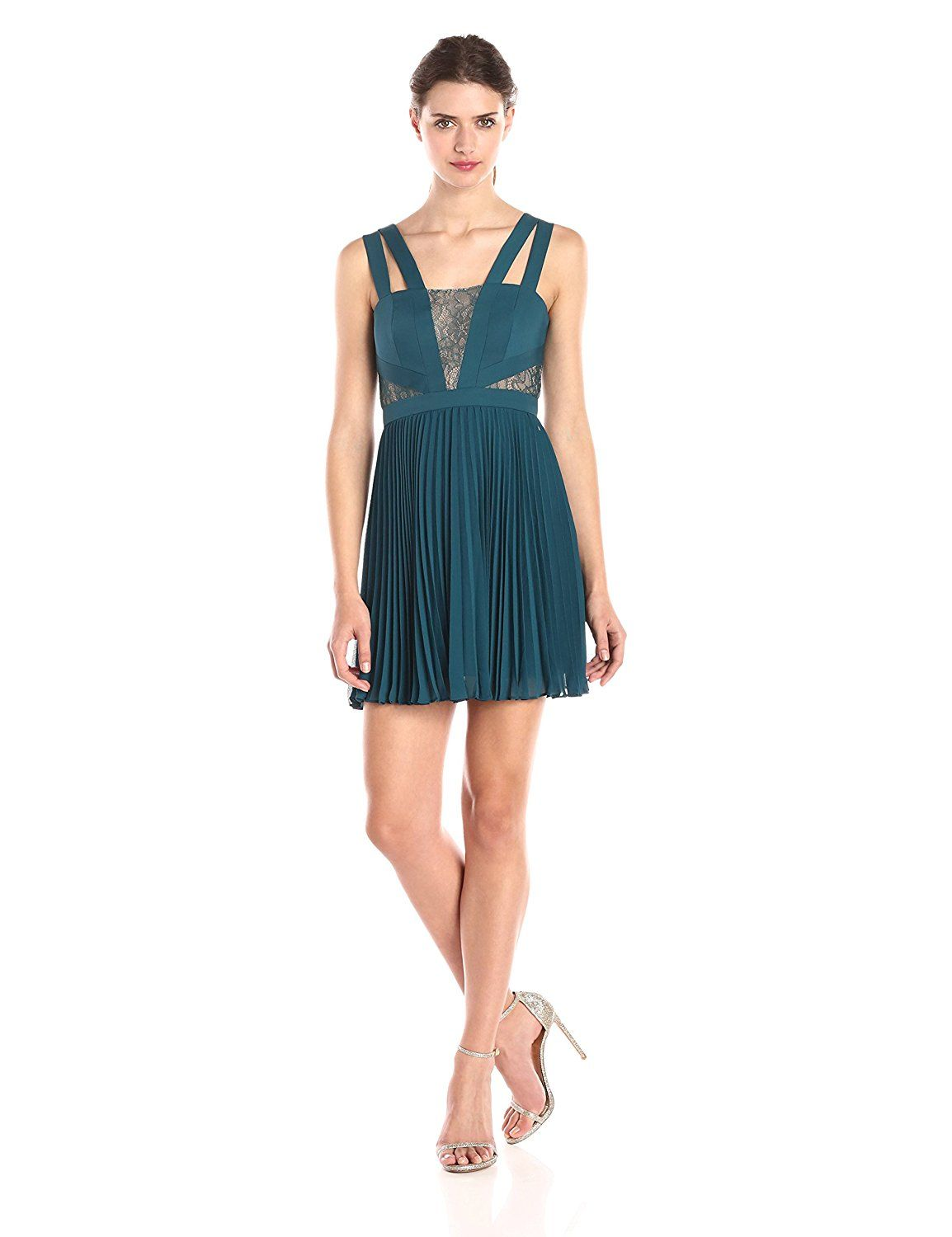 BCBGMax Azria Women's Tenzin Pleated Cocktail Dress with Lace Insets *** You can get more details here : Women's dresses