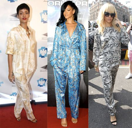 Image result for rihanna pyjama outfit