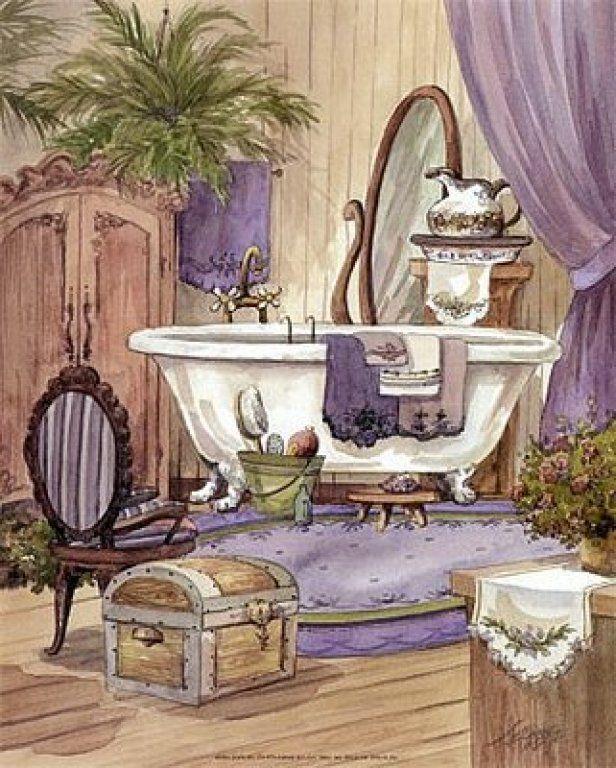 Imagenes De Bano Vintage La Casa De Las Laminas Bano Morado Laminas Para Decoupage Laminas Vintage Arte Bano