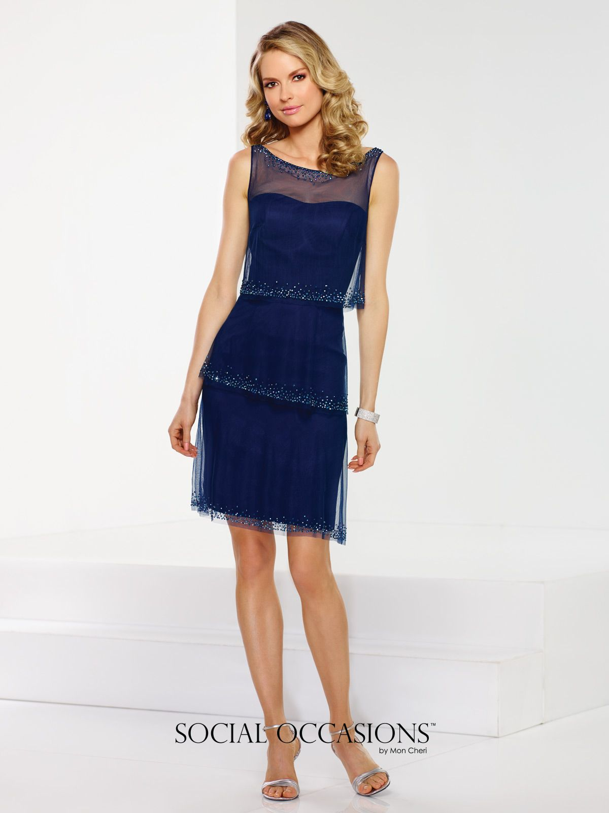 9e95b64d6a5e Social Occasions by Mon Cheri - 116847 - Sleeveless hand-beaded tulle  three-tiered above-the-knee A-line dress