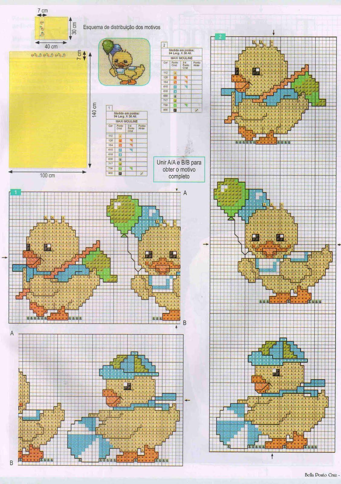 Enxoval Ponto Cruz by Núbia Cortinhas: Patinhos para os babys ...