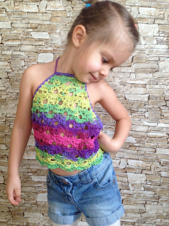 Light rainbow crop top Crochet toddler top Boho halter top