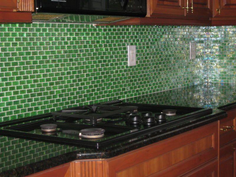 Green Mosaic Subway Glass Tile Kitchen Backsplash Bathroom